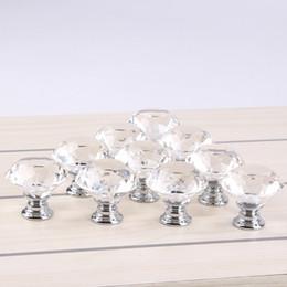 Limpar 30mm Forma de Diamante Projeto de Cristal De Vidro Maçanetas Da Porta Armário Gaveta Armário Armário Pull Handle Knobs de Fornecedores de botões baratos