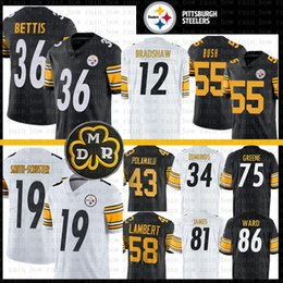 Maillot troy en Ligne-36 Jerome Bettis Pittsburgh Steelers Jersey Smith-Schuster Devin Bush 12 Terry Bradshaw Jack Lambert Troy Polamalu Ward Greene Edmunds James