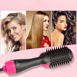 straightener combs Promo Codes - Professional One Step Hair Dryer brush volumizer 2 in 1 straightener and curler Hot Air Curling iron Rotating Rollers Comb