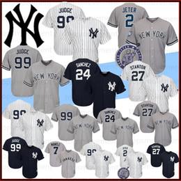 Camisetas de bebé ruth online-99 Aaron juez hombres jerseys 2 Derek Jeter 27 Giancarlo Stanton 3 Babe Ruth 150th los jerseys de béisbol 24 Gary Sánchez baja fresca