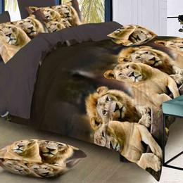 Lujo Inteligente juego de cama 3d ropa de cama 4pcs juego de cama Funda nórdica hoja plana Textiles para el hogar funda de almohada tamaño Queen Cat Lion desde fabricantes