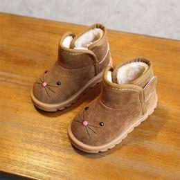 Botas de terciopelo rosa online-MHYONS 2019 invierno nuevos niños de dibujos animados botas niñas botas de nieve niños algodón zapatos más terciopelo bebé zapatos Rosa marrón rojo