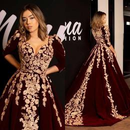 Elegante árabe Lace Vestidos de noite 1/2 mangas compridas V Neck Velvet A Formal Festa Linha Vestidos Prom Vestidos túnicas de soirée de