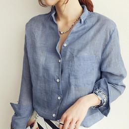 Deutschland Frauen Tops Mode Leinen Weißes Hemd Frauen Langarm Bluse OL Büro Bluse Tasche Frau Kleidung Roupas cheap linen blouses tops Versorgung
