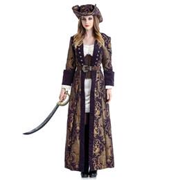 2019 orecchie di gatto rosa cosplay Costume da pirata Deluxe da donna Costume da Carnevale di Halloween Fantasia Fancy Dress con cappello da pirata Cosplay Costumi sexy per adulti