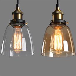 Vetro d'ottone da soffitto d'epoca online-Retro lampada a sospensione industriale d'epoca rustico paralume in vetro paralume per camera da letto bar soggiorno illuminazione domestica