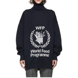 Strickte hoodie online-19FW BLCG World Food Programm Pullover Stehkragen Strickpullover Street Pullover Herbst Winter Warme Pullover Hoodies HFYMMY037