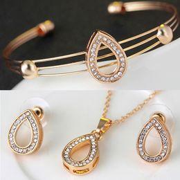 anillo de jade indio Rebajas Nueva llegada de moda chapado en oro collar collar pendientes aretes anillos finos conjuntos traje de fiesta para las mujeres