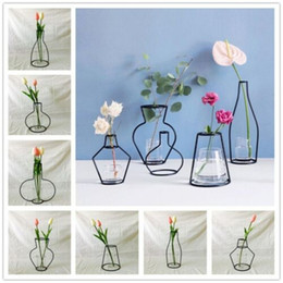abstrakte linien Rabatt FAROOT Nordic Minimalist Abstrakte Vase Linien Schwarz A Iron Vase Flower Dried Flower