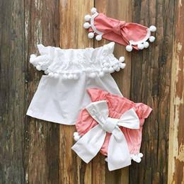 2019 ragazze abbigliamento corto Estate Neonati Vestiti da ragazza Principessa Tops Dress + Shorts Outfits Set 0-24M sconti ragazze abbigliamento corto