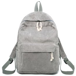 Scuole di design dei tessuti online-FANSON Preppy Style Soft Fabric Zaino femminile in velluto a coste Design School Backpack per ragazze adolescenti a righe