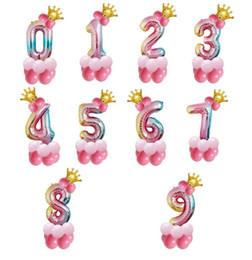 Goldkrone dekorationen online-32inch Neue Design Regenbogen Anzahl Ballons mit Goldkrone Aluminium-Beschichtung Gradienten Ballons Geburtstag Dekorationen