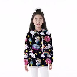 Felpa con cappuccio bambino Unicorn Rainbow Donut Ice Cream 3D digitale Full Print Casual Boy Girl Felpe con cappuccio bambini maniche lunghe Tops (RLCLM-55020) da