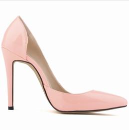 Vestidos de novia negro vino online-2019 CALIENTE Zapatos de mujer en punta Bombas del dedo del pie de charol Vestido de tacones altos Zapatos del barco Zapatos de boda Zapatos Mujer negro vino rojo