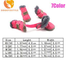 Botte de chien de neige en Ligne-Waterproof Pet Dog Shoes Winter Warm 4pcs set Small Dog's Snow Boots Leather Non-slip Puppy Boot Chihuahua Pets Outdoor Sneaker