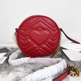 Runde taschen online-Neue Art- und Weisefrauen-diagonale Beutel-Beutel-Rindleder-Schwarz-Miniketten-Schulter-Beutel-Leder-runde Handtaschen 550154 Marmont