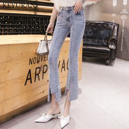 старинные заклепочные сапоги Скидка New Arrived Ladies Beading irregular vintage Rivet Flare jeans Denim Stretch Womens Ripped Skinny Jeans Female Boot cut Pants