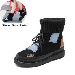 Scarpe di tela di velluto online-Stivali Donna con velluto Moda toppa su tela Scarpe scaldamuscoli caldi Donna Chaussure donna Scarpe casual per donne Botas # 3