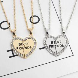 encantos de amistad Rebajas 2019 Nuevas 2 PC / sistema en forma de corazón de los mejores amigos collares de plata cristalino del oro Bff amistad para siempre la joyería del encanto para los regalos de chicas