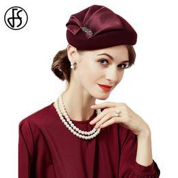 43945c89eaf FS Elegant Lady 100% Wool Hair Fascinators For Wedding Women Hat Black Wine  Red With Flower Pillbox Hats Felt Fedoras