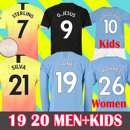 Uniforme de fútbol femenino online-MAHREZ 19 20 Camiseta de fútbol Manchester City Soccer Jersey 2019 2020 Ciudad JESUS DE BRUYNE KUN Camiseta de fútbol AGUERO Camiseta MENDY WALKER SILVA MAN uniformes kids