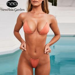Newasia Limpar Strap Bikini Set 2019 Mulheres Sexy Beachwear Two Piece Set Tanga Biquíni Push Up Maiô Sólido Verão Monokini Y19051402 de