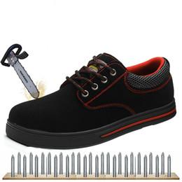 Más el tamaño 46 Zapatos de seguridad de gamuza de los hombres de los hombres de acero Toecap Botas de seguridad de la plantilla de acero de los hombres causales zapatos de trabajo transpirables XX-365 desde fabricantes