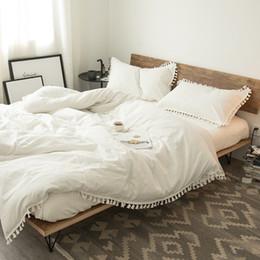 Ropa de cama princesa moderna online-Conjuntos de ropa de cama de algodón Borla Princesa Juegos de cama de lujo con flecos Duvet Juego de sábanas de edredones modernos Ropa de cama Ropa de cama