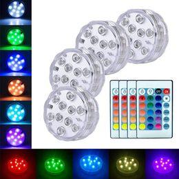 Luz sumergible de noche online-Funciona con pilas 10leds RGB Luz sumergible Subacuática Lámpara de noche Luz de piscina de jardín para la fiesta de bodas Florero Cuenco