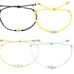 Bracelets d'amitié fleur en Ligne-été puravidadstring pring chaîne de cire bohème boho émaux marguerite fleur charme amitié bracelets femmes bijoux