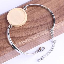 Bandejas de jóias de madeira on-line-Fit 20mm rodada em branco de madeira cabochão pulseira base de configurações diy blanks cuff bangle aro bandejas para fazer jóias