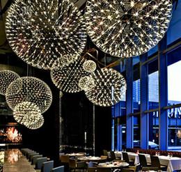 2019 bola de fuegos artificiales led Barra de luces modernas luces colgantes de fuegos artificiales barra LED lámpara colgante de bola de acero inoxidable para bar / restaurante Lamparas Lustre, soporte envío directo bola de fuegos artificiales led baratos