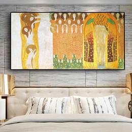 2019 emoldurado reprodução pintura a óleo Friso de Beethoven por Gustav Klimt Reprodução Pintura a óleo sobre tela Art Posters e Prints Cuadros Wall Imagem para Living Room No Framed desconto emoldurado reprodução pintura a óleo