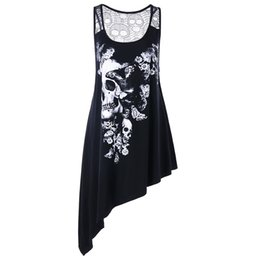 outlet for sale delicate colors newest collection Plus Size Skull Asymmetric Women Tank Top Summer U Neck Sleeveless Lace  Long Tops Casual Ladies Tanks Big Size 5xl Clothes Y19042801