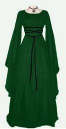 2019 abito medievale donna viola 2018 best seller nero rosso viola verde del Rinascimento medievale irlandese gotico vittoriano abito S-2XL COSPLAY costume delle donne abito medievale donna viola economici