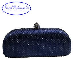 Marine abendkupplungen online-Elegante Marineblau Kristall Box Clutch Bag und Geldbörsen Strass Abendtaschen Y19051702