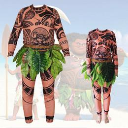 2020 trajes para hombre más calientes Familia de adultos de Halloween para hombre Maui Tattoo T Shirt Pantalones falda de hierba Cosplay 2019 más nuevo caliente venta de verano masculino trajes para hombre más calientes baratos