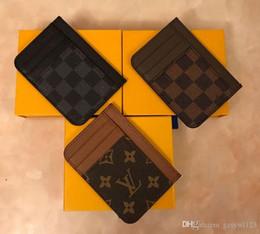 Carteras de cuero delgado para hombre online-LouisVuittonMens ocasionales bolsa de titular de tarjeta de crédito en Piel de Hiqh calidad ultra delgado Monedero de paquetes bolsa para Mans Womans Llavero