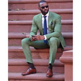 2019 slim fit anzug armee 2019 mode slim fit New Army Green leinen Männer Anzüge hochzeit Prom rauchen Bräutigam Smoking Mens Casual Arbeitskleidung Anzüge Tux (Jacke + Pants) rabatt slim fit anzug armee