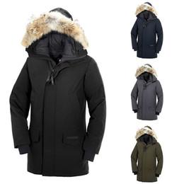 uomini lunghi del cappotto del tessuto Sconti il trasporto libero 2019 Canada Goose uomini Langford parka rivestimento giù il 90% White Goose tessuto cappotto esterno lungo incappucciato caldo Doudoune