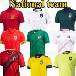 Squadra di calcio jersey argentina online-2020 Nuovo liberato squadra nazionale Irlanda del Nord Argentina Galles Jersey di calcio 2021 camice BALE Italia Svezia Belgio Spagna Maillot Camisetas