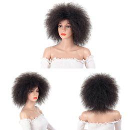 Argentina Peluca Afro para Mujer Color Negro Africano Yaki Peluca Corta Sintética Recta Cosplay Kanekalon SASSY GIRL Suministro