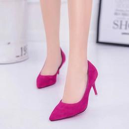 Искусственный замшевый насос онлайн-Плюс Размер ПР Офис Леди Обувь Из Искусственной Замши Высокие Каблуки Женская Обувь Острым Носом Классическая Обувь Основные Насосы Женщины Лодка