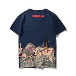 2019 desenhos animados divertidos Monstro Godzilla Impresso New Mens T-shirt Verão Algodão Anime T-shirt Branco de Fitness Dos Desenhos Animados de Fitness Homme Fun desenhos animados divertidos barato