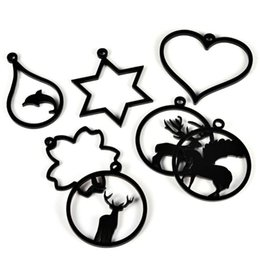 Снежинка смолы онлайн-9Pcs DIY Handmade Frame Crafts Epoxy Resin Acrylic Making Jewelry Home Decoration Ornaments Tools Heart Deer Snowflake