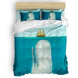 Cama de baleia on-line-A Baleia Capa de Edredão Set Lençóis Fronha Cobertor Fronhas Completa Rainha King Size 4 pcs Conjuntos de Cama