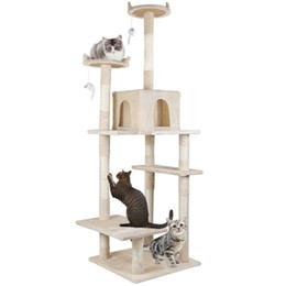 2019 ropa de cama del gatito Kitty Cat árbol de la torre Condo muebles rasguño mensaje Mascotas Cama Beige rebajas ropa de cama del gatito
