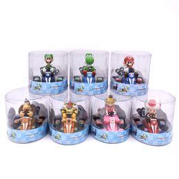 acciones del carro Rebajas Figuras de acción de Super Mario Bros 12 cm PVC Super Mario tire hacia atrás los juguetes del coche con la caja de regalos de cumpleaños para niños Juguetes para niños SS162