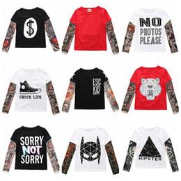 2019 langarm-tattoo-print-tops Kinder Kleidung Jungen Tattoo Hip Hop T-shirts Ins Baby Langarm Tops Casual Streetwear Tees Mode Gedruckt Tees Baumwolle Sashimi Hemd B5084 rabatt langarm-tattoo-print-tops