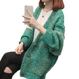 Корейский большой вязаный свитер онлайн-Осень одежда женский 2019 весна новый свободный большой размер свитер пальто женский корейский повседневная Летучая мышь рукава вязать кардиган LQ594